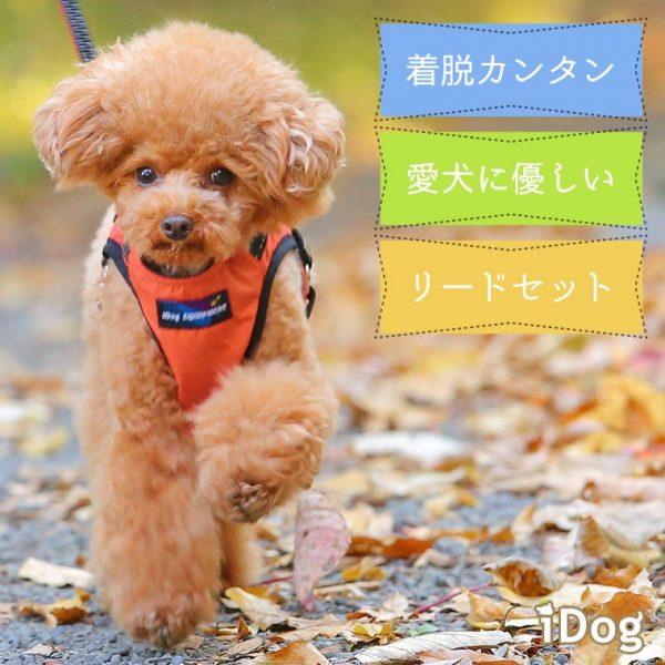 毎日のお散歩が楽、首がくるしくない犬用布製ハーネスとリードのセット